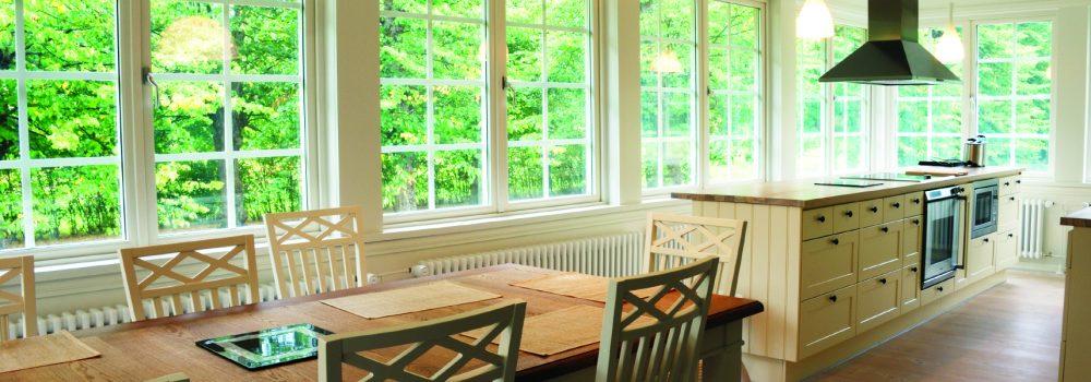 light kitchen interior,  chairs, desk, windows
